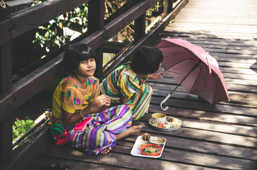@sangklaburi Kanchanaburi Thailand Thailand Girls Sangklaburi Spirituality Religion Traditional Clothing Place Of Worship Umbrella Tourism Famous Place Couple