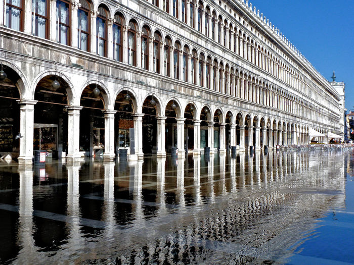 Reflection of arched structure in water