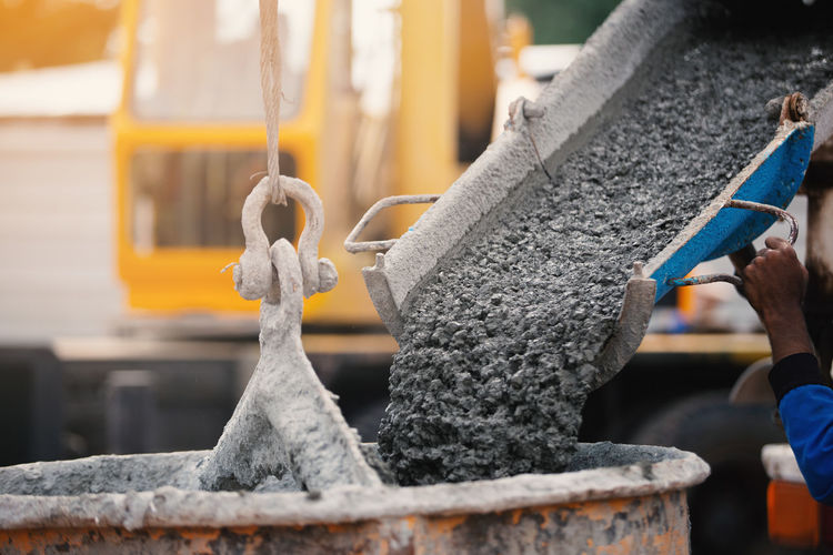 Cement pouring in container