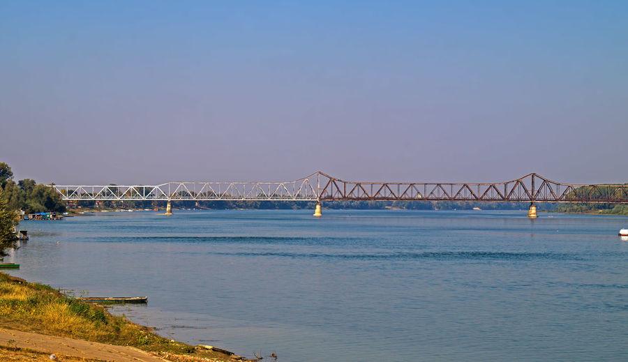 Iron construction railway bridge Architecture No People Day Water Bridge Transportation Clear Sky Connection Travel Destinations Iron River