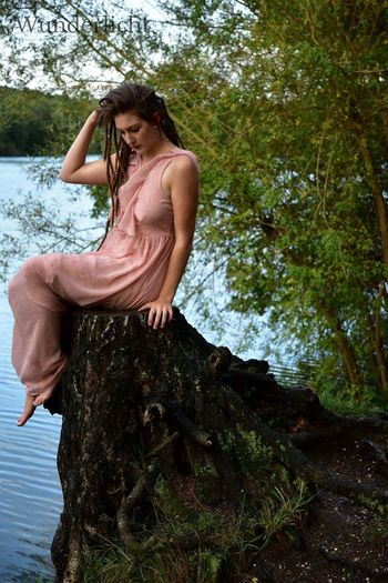 EyeEm Selects One Person Water Only Women Adult Tree One Woman Only Outdoors Nature Day Lake Full Length Day Dreaming Check This Out Fairytale  Beautiful Nature Beautiful People Beauty In Nature Picture Of The Day Available Light Photography