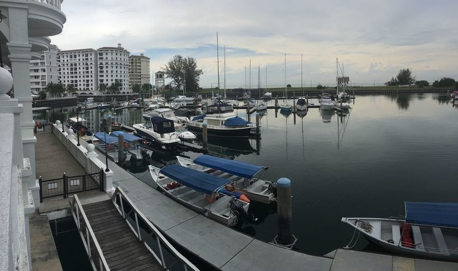 Nautical Vessel Moored Mode Of Transport Transportation Water Harbor Boat Sky Reflection Built Structure Building Exterior Sea Marina Outdoors Mast Yacht Architecture Sailboat Cloud - Sky No People Restaurant Hotel View Malaysia Architecture Seaside