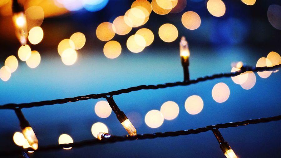 Winter. Illuminated Focus On Foreground Night Lighting Equipment Christmas Lights Outdoors Christmas Decoration Winter Light