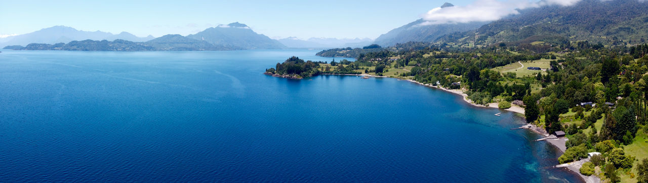 Panoramic view of a patagonia lake in southern chile