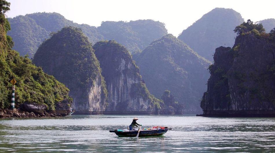 Ha Long Bay, Vietnam Ha Long Bay Vietnam Nautical Vessel Water Mountain Adventure Rowing Women Flowing Water