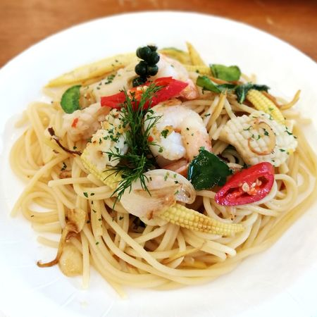 Spaghetti Sea Food Meal Spaketty Seafoods Yummy Meal