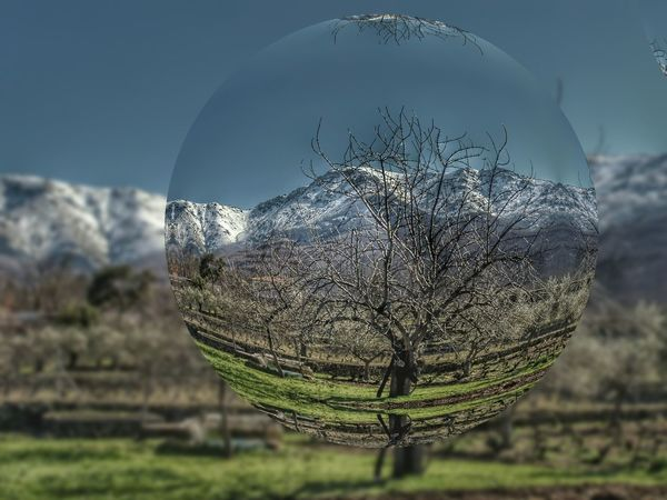 Crystal Ball Reflection Rural Sphere Sphere Glass Winter Wintertime Ball Ball Reflection Beauty In Nature Cold Cold Temperature Countryside Countryside Life Cristal Ball Crystal Environment Landscape Mountain Rural Landscape Rural Scene Snow Snowcapped Mountain