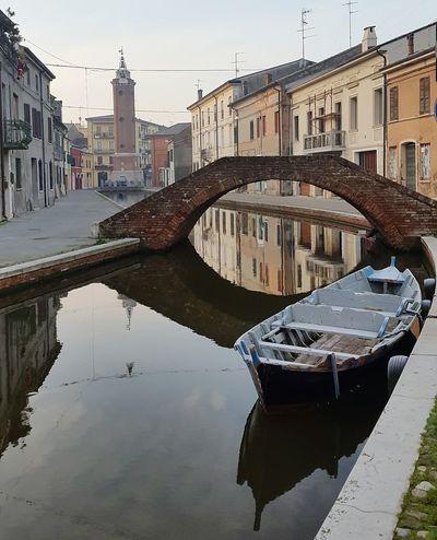 Reflection Water Bridge - Man Made Structure Comacchio Piccolavenezia Comacchiocity Boat Boats And Sea Travel Landscape No People