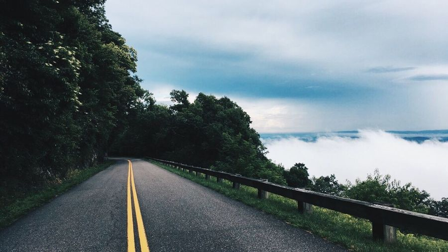 Tree Road The Way Forward Transportation Road Marking Sky Tranquil Scene Tranquility Cloud - Sky Diminishing Perspective Cloud Empty Road Vanishing Point Day Nature Country Road Non-urban Scene Outdoors Scenics Cloudy