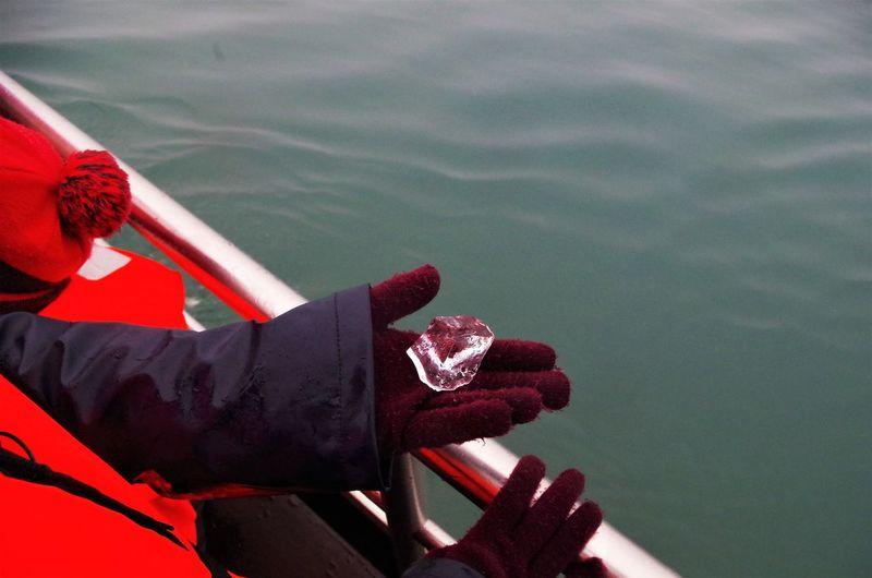 Hand holding ice