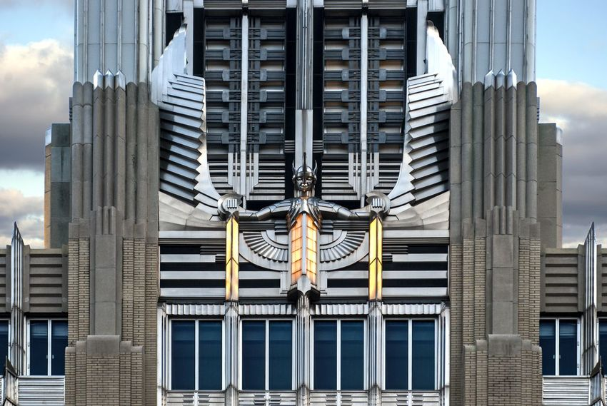 Architecture Building Exterior Skyscraper Built Structure Outdoors Cloud - Sky City Strength Day No People Hudson Building Art Deco Sculpture Wings Steel Power Syracuse Ny Niagara Mohawk Spirir Of Light