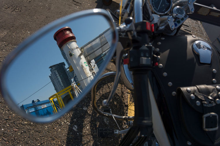 Dalmor Mirror Poland Day Gdynia High Angle View Motorcycle No People Outdoors Reflections Seatowers Transportation