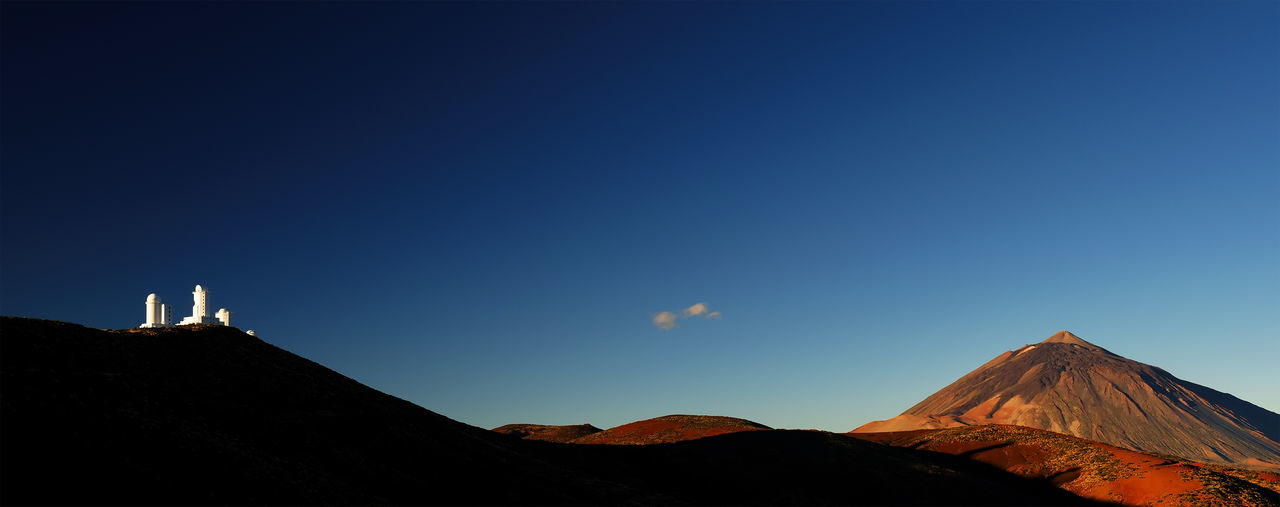 Scenic view of el teide volcano against clear blue sky