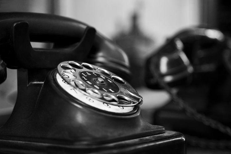 Close-up of old-fashioned landline phone