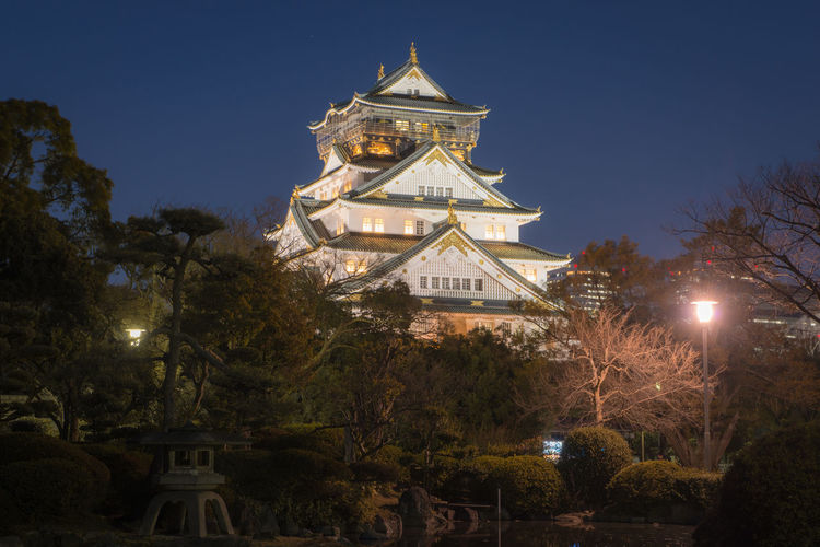 Himeji Castle in Osaka, Japan Tree Plant Built Structure Architecture Illuminated Building Exterior Nature Sky No People Religion Low Angle View Night Belief Building Place Of Worship Travel Destinations Spirituality Tower Lighting Equipment Travel Outdoors Spire