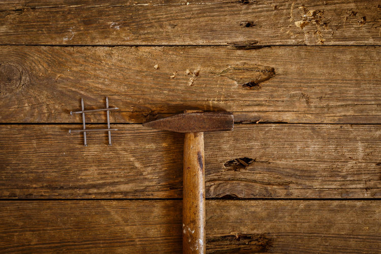 Antique Backgrounds Blank Brown Carpentry Close-up Full Frame Hammer Indoors  Man Made Nail No People Old Plank Rough Stained Studio Shot Table Textured  Wood Wood - Material Wood Grain