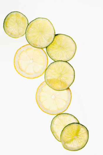 High angle view of lemon against white background