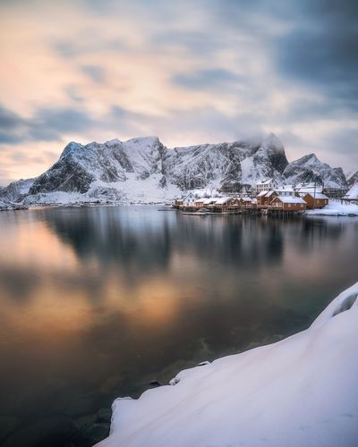 Water Snow Cloud - Sky Winter Cold Temperature Nature Beauty In Nature Sky Mountain No People Scenics - Nature Tranquility Lake Outdoors Environment Tranquil Scene Non-urban Scene Snowcapped Mountain Power In Nature