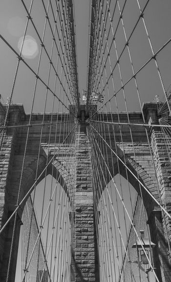 Brooklyn Bridge New York City in Black and White Photography Architecture Bridge Over Water City Cityscape Exterior Hudson River New York City Rope Black And White Bridge Bridge View Cable Close-up Details Landmark New York City Photos Outdoors Steel Steel Structure  Travel Destinations View Up