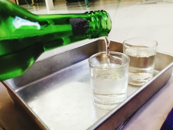 Close-up of drink in glass on table