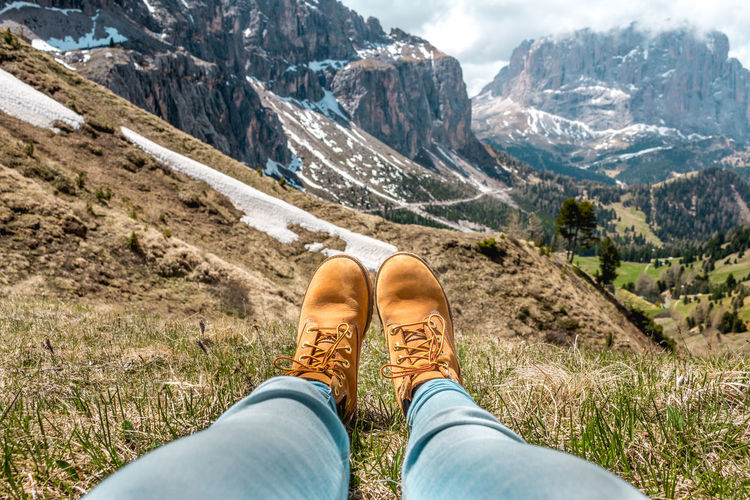 Adventure Beauty In Nature Day Field In Front Of Leisure Activity Lifestyles Low Section Mountain Mountain Range Mountains Nature Outdoors Person Personal Perspective Relaxing Shoe South Tyrol Sunny Tourism Tranquility Vacations Valley