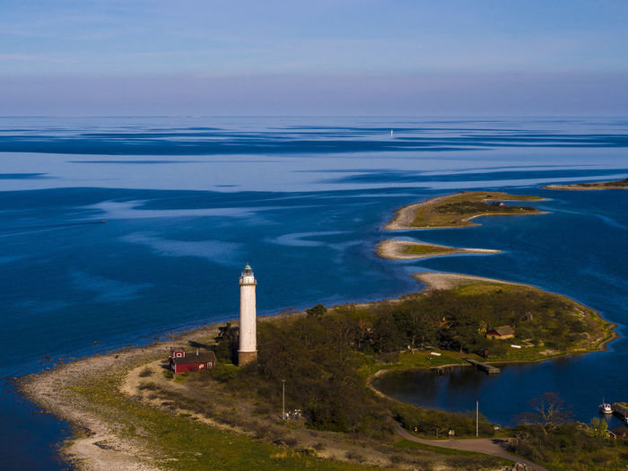 Sailing away Architecture Beauty In Nature Blue Blue Sky Built Structure Day Drone  Dronephotography Horizon Over Water Infinity Lighthouse Nature No People Ocean Outdoors Sailboat Scenics Sea Sky Sweden Water