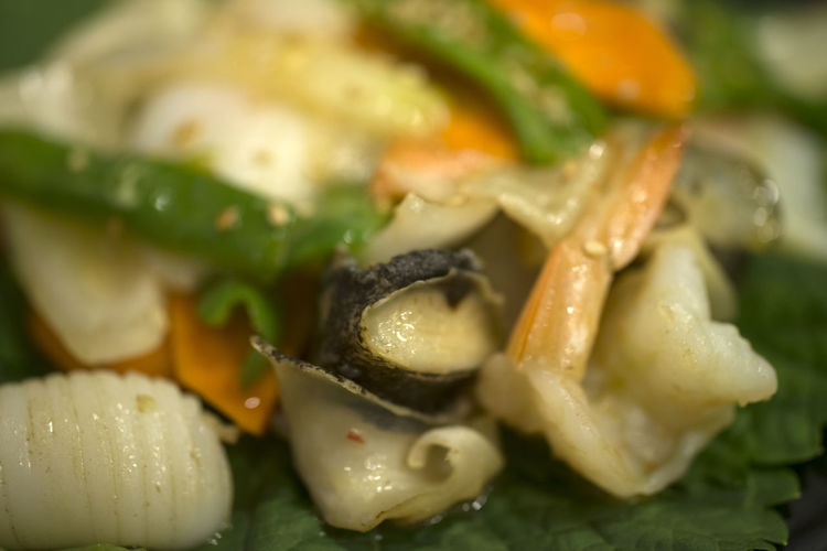 seafood salad Carrot Close-up Connection Day Food Food And Drink Freshness Healthy Eating Indoors  No People Onion Perilla Leaf Ready-to-eat Seafood Salad Shrimp Turban Shell
