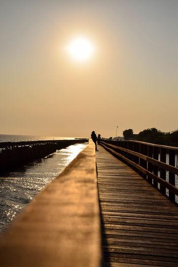 Water Sea Sunset Beach Clear Sky Sunlight Jetty Wood - Material Sun Pier