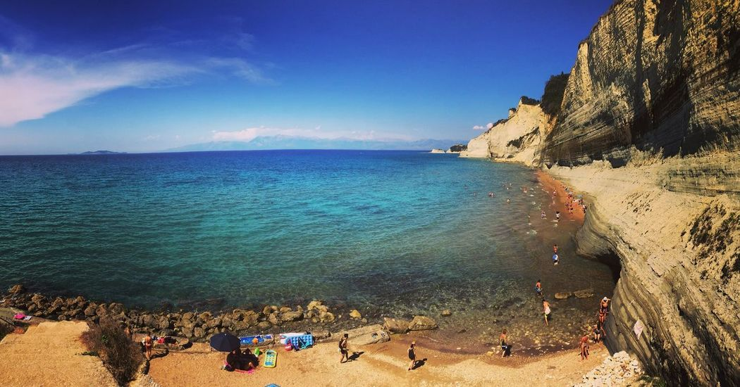 Sea Beach Water Beauty In Nature Sky Scenics Outdoors Nature Sand Tranquility Tranquil Scene Horizon Over Water Leisure Activity Vacations Day Mountain Peace View From Above View Greece People
