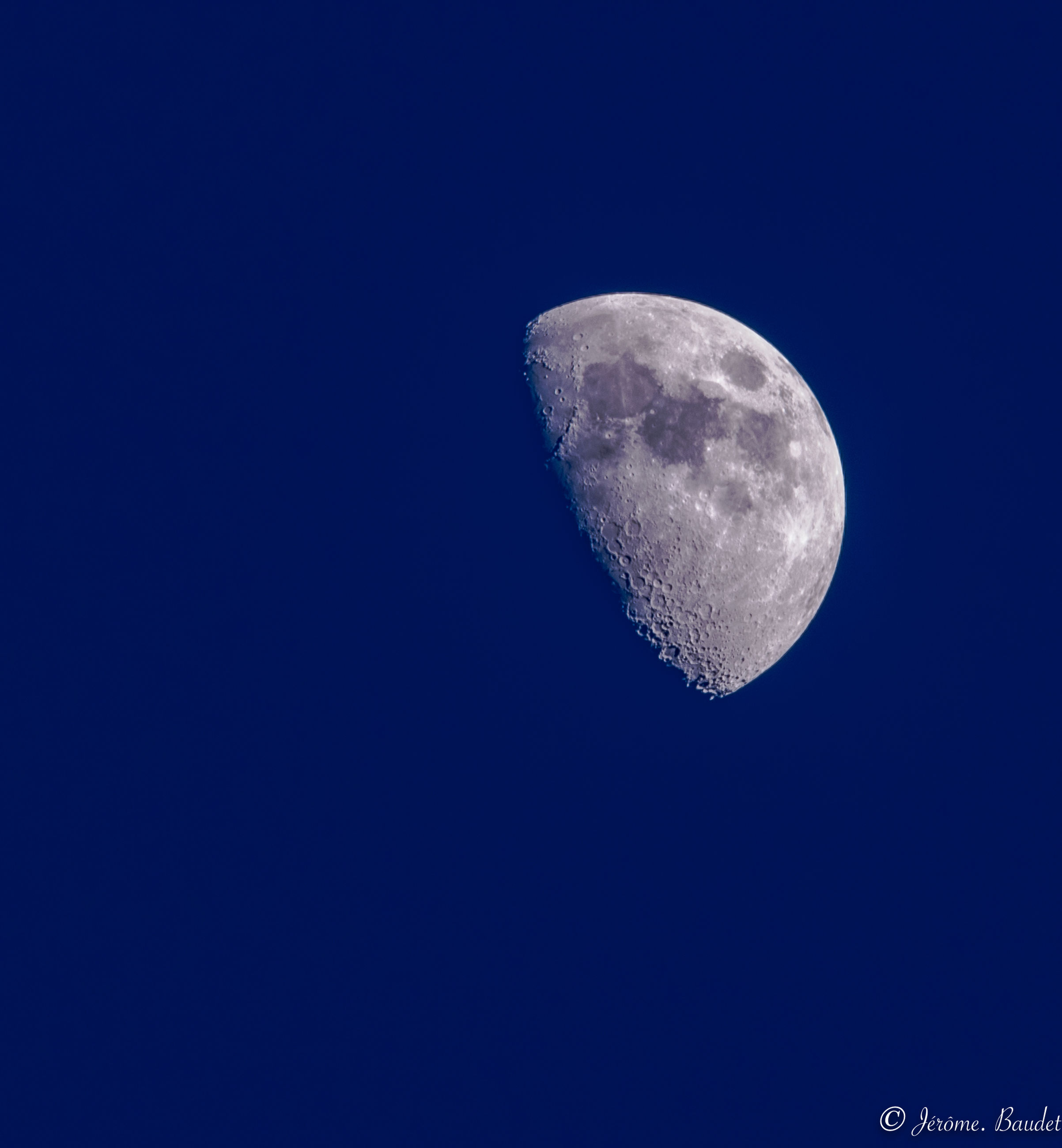 moon, sky, astronomy, space, night, blue, low angle view, moon surface, copy space, planetary moon, beauty in nature, clear sky, nature, tranquility, half moon, no people, tranquil scene, scenics - nature, outdoors, space exploration, space and astronomy