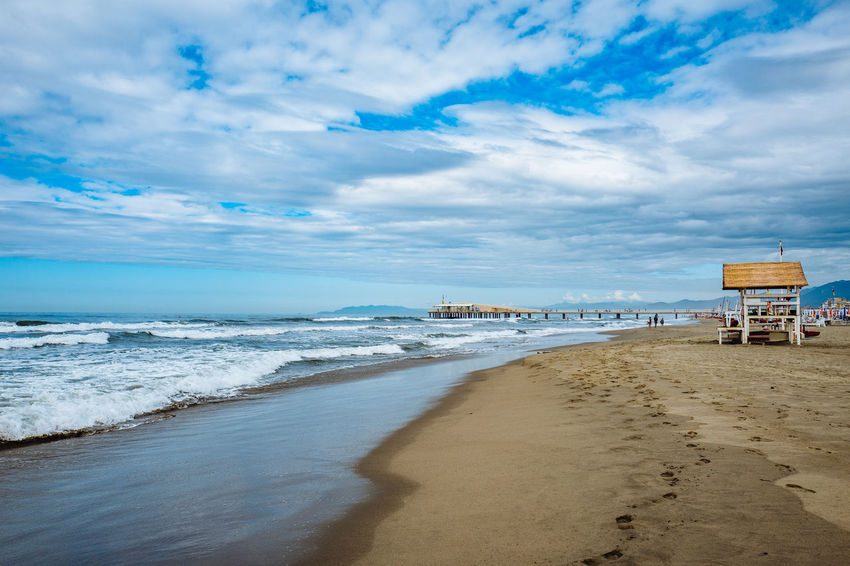 Camaiore Tuscany Architecture Beach Beauty In Nature Built Structure Cloud - Sky Day Horizon Over Water Italy Lifeguard Hut Nature No People Outdoors Sand Scenics Sea Shore Sky Tranquil Scene Tranquility Vacations Water Wave