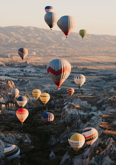 Incredible sights of 41 hot air balloons soaring above Cappadocia, Turkey. Air Vehicle Hot Air Balloon Flying Transportation Balloon Sky Nature Outdoors Beauty In Nature Travel Mid-air Week On Eyeem Cappadocia Cappadocia/Turkey Turkey Göreme Wanderlust Adventure Aerial View Sunrise Olympus Mountain Ballooning Festival Multi Colored Mode Of Transportation