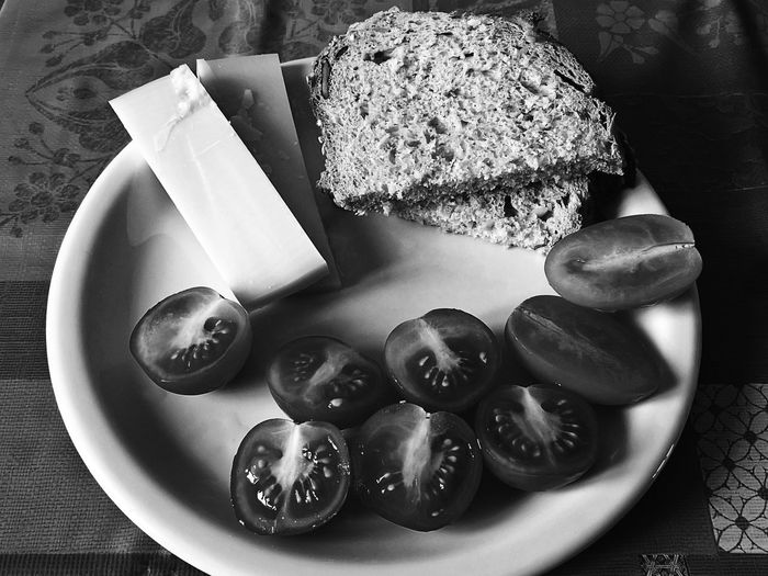 Black & White Blackandwhite Bread Cheese Close-up Day Food Food And Drink Freshness Healthy Eating Indoors  Monochrome monochrome photography No People Plate Ready-to-eat Serving Size SLICE Table Tomatoes