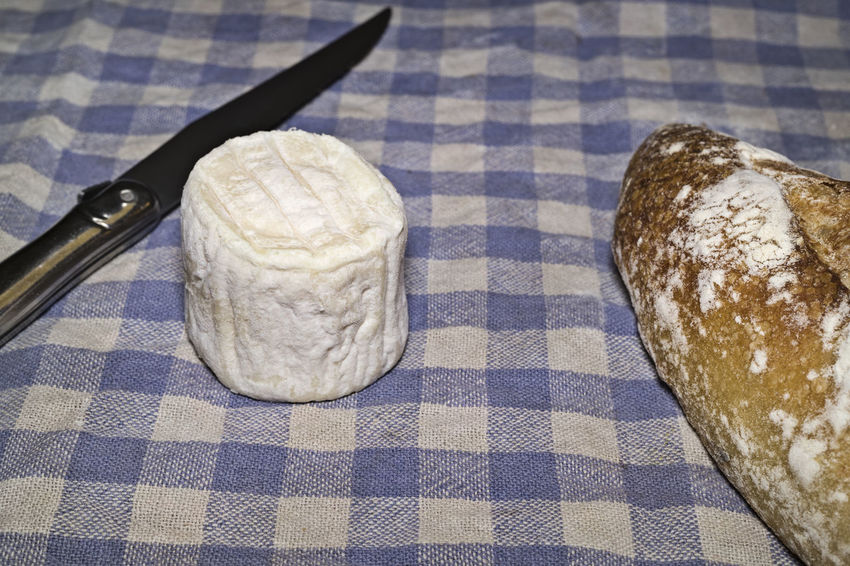 Goat cheese and bread on tablecloth Cheese Farm Food France French Gastronomy Goat Goatcheese Gourmet Local Organic