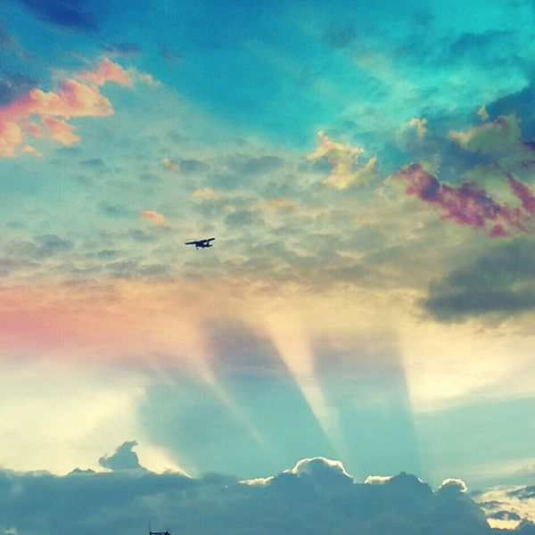 Flying Airplane Mountain Cloud - Sky Travel Journey Sky Outdoors No People Mid-air Air Vehicle Nature Commercial Airplane Day Aerospace Industry Rock - Object Clouds And Sky Clouds And Sky Colors Cloud Cloudscapes Sunrays Sunrise Sunset Skyblue SkyCloudsSun The Week On EyeEm Berlin Love