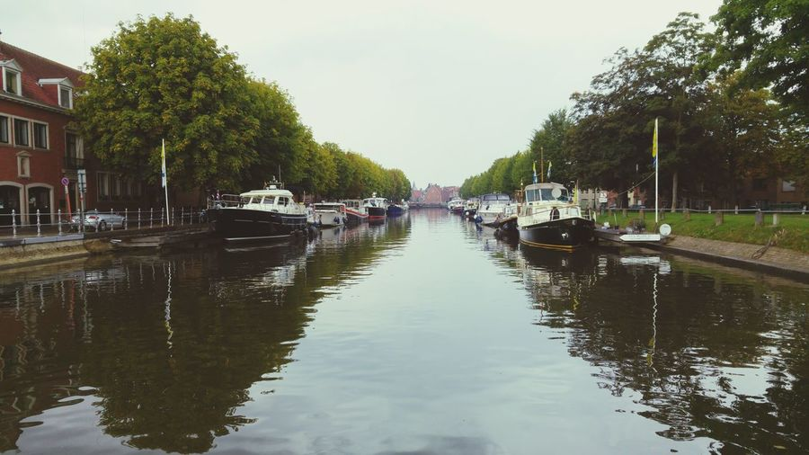 View of boats in canal