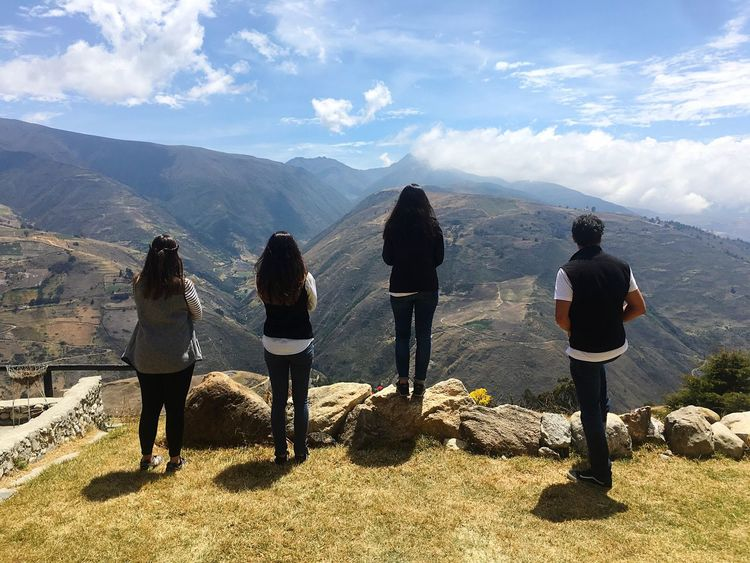 Andes Mountains Mountain Mountain Range Real People Leisure Activity Scenics Beauty In Nature Outdoors Nature Standing Sky Grass Day Landscape Togetherness People Andes Landscape Andes Vacations Young Adult Beauty In Nature Nature Recreational Pursuit Travel Journey
