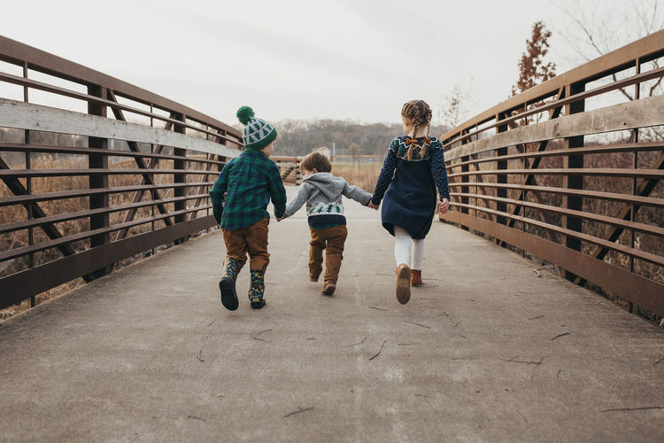 Rear view of friends walking on footbridge