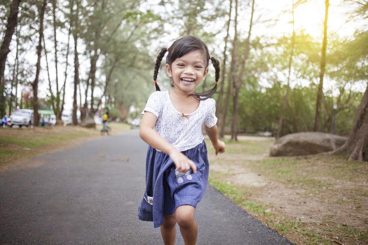 Portrait of girl running