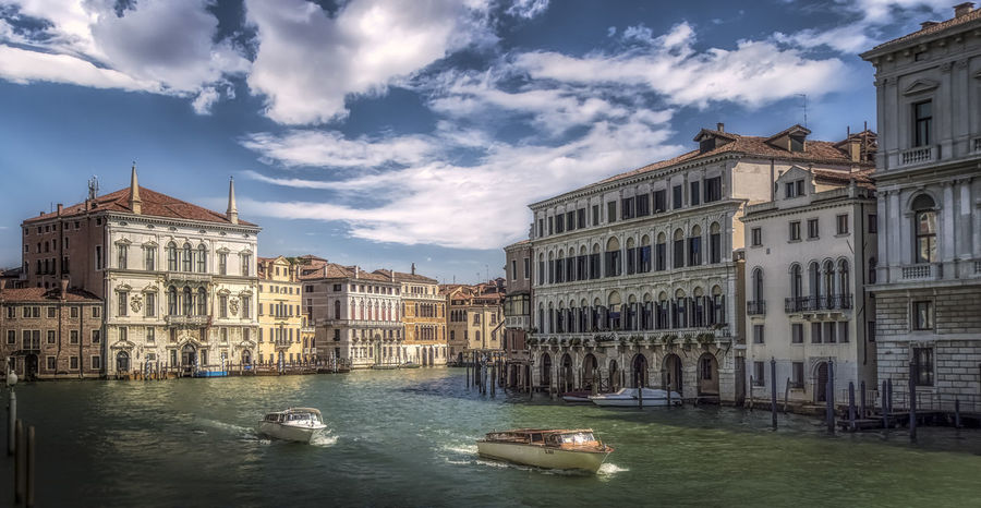 Gran Canal in Venice Gran Canal Italia Italy 🇮🇹 Venezia Architecture Boat Building Building Exterior Built Structure Canal City Cloud - Sky Day Mode Of Transportation Nautical Vessel Outdoors Sky Transportation Travel Travel Destinations Venice Water Waterfront