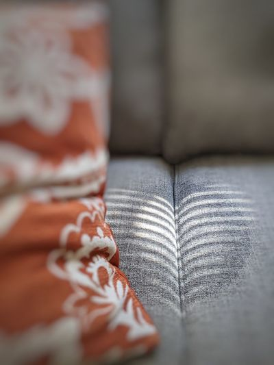 Close-up of gray sofa