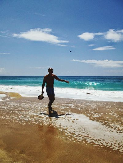 Beach Sea Sand Full Length One Person Vacations People Sky Adult One Man Only Day Only Men Outdoors Standing Adults Only Wave Nature Water Travel Destinations Horizon Over Water Greece Vrachos Loutsa Beach Ionian Sea Epirus