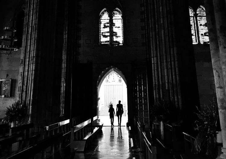 Silhouette People Entering In The Church