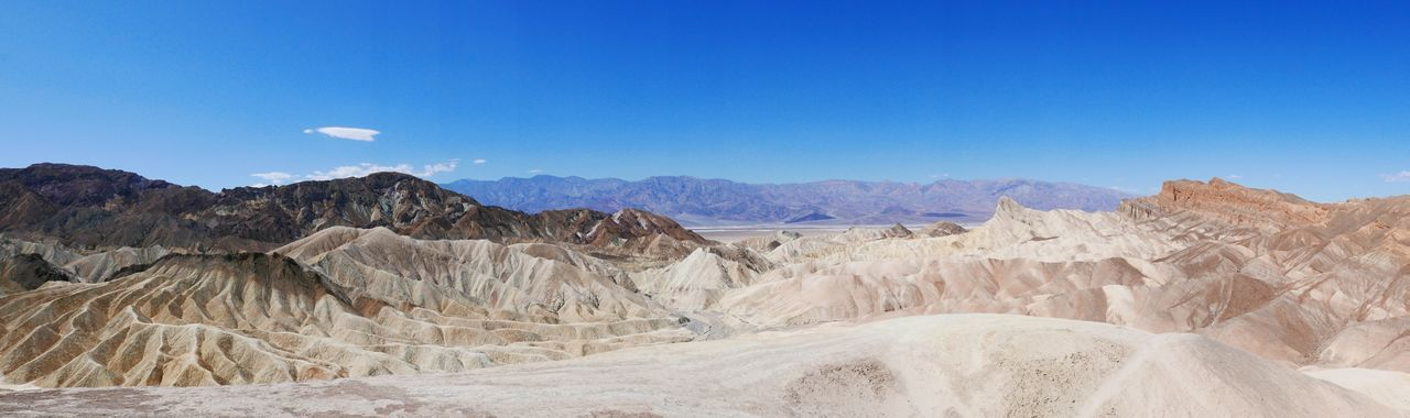 Arid Climate Mountain Blue Nature Tranquility Physical Geography Tranquil Scene Day No People Beauty In Nature Outdoors Clear Sky Sky Landscape Scenics Desert Zabriskie Point