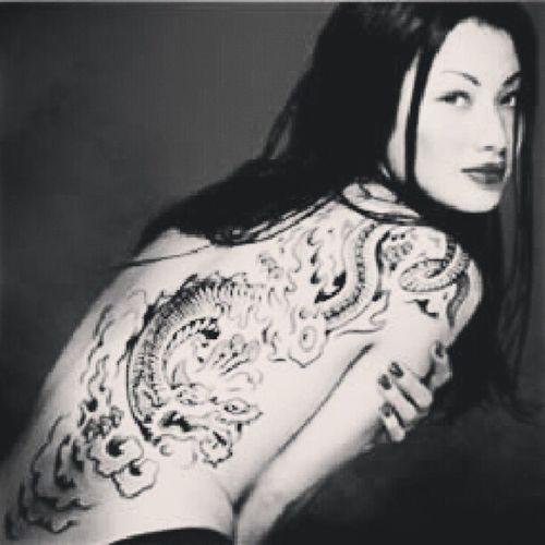 Design Tattoo Fashion Vacker Mode Modell Kvinna Snygg