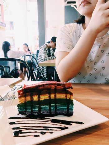 Rainbow Crêpe Cake and Company Table Indoors  Food And Drink Food Real People Day Freshness Sweet Food Women Young Women Ready-to-eat Close-up Young Adult Adult People Rainbow Cake Rainbow Singapore