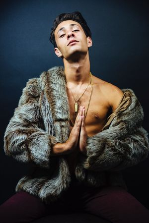 Bless-up 🔼 ~ Portrait Portrait Photography Fur Coat Male Model Studio Kaleb M. Starr Portraitist - 2016 Eyeem Awards Real People Praying Dark Hair KillinIt Swag Fresh Chain Gold Necklace