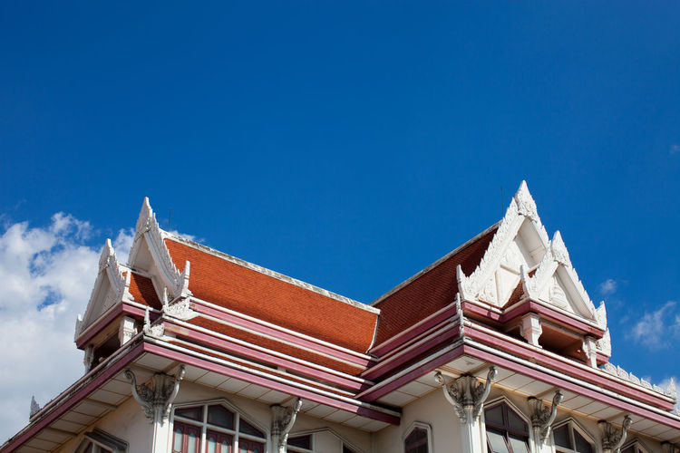 Low angle view of temple against clear blue sky