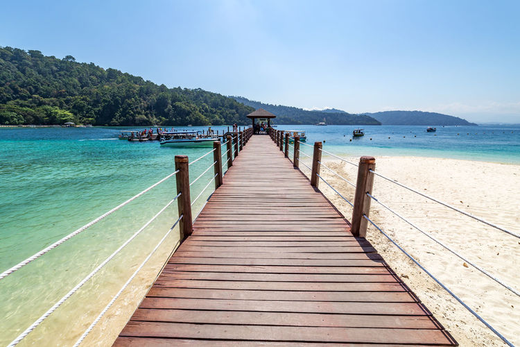Sapi Island, Kota Kinabalu, Malaysia Malaysia Borneo Sabah Kota Kinabalu Tunku Abdul Rahman Sapi Island Beach Clear Water Shallow Jetty Tropical Tropical Climate Tropical Paradise Water Sky Scenics - Nature Nature Day Outdoors
