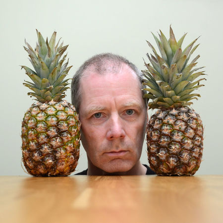 Between two fruit Food Food And Drink Fruit Indoors  Looking At Camera One Man Only One Person Pineapple Portrait Self Portrait Table The Portraitist - 2017 EyeEm Awards